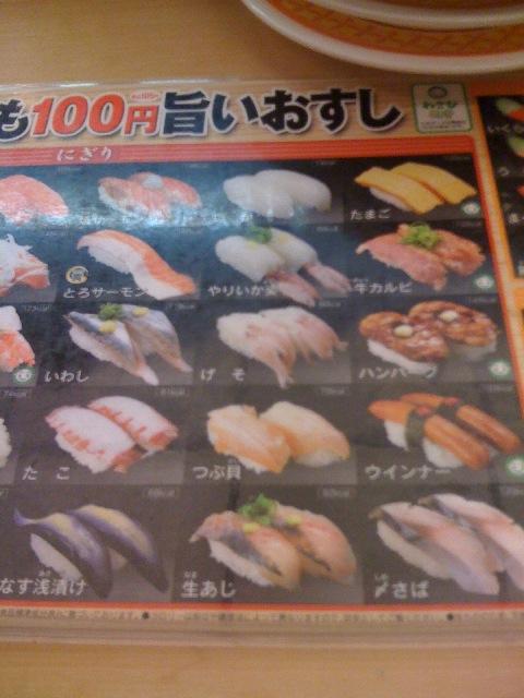 寿司メニュー