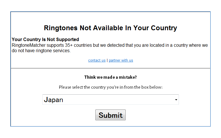 Unsupported Country Detected